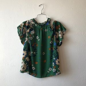 monteau green floral print off the shoulder top